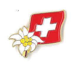 Swiss Flag w/ Edelweiss Pin