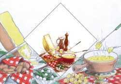 Paper Napkins/Place Mats Set - Cheese Fondue Party