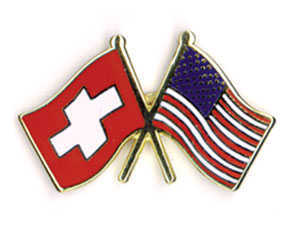 Double Flag Pin Swiss/US Flags