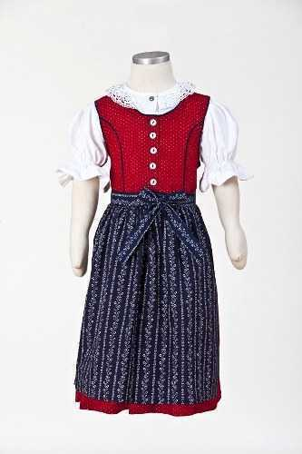 Kids Dirndl - Anna - Red Dress with Blue Apron