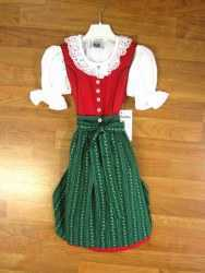 Kids Dirndl - Jasmine - Red Dress with Green Apron