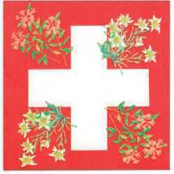 Paper Napkins - Swiss Cross w/Alpine Flowers