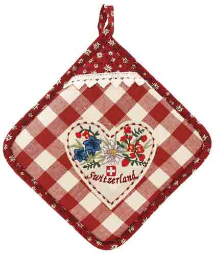 Red Check with Heart Pot Holder