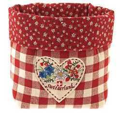 Red Checkered Fabric Bread Basket