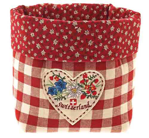 Red Checkered Bread Basket
