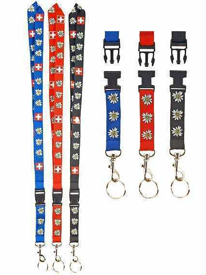 Swiss Lanyard with Edeleweiss and Swiss Cross