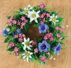 Artificial Alpine Flower Wreath