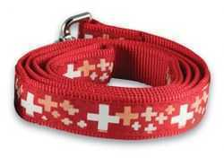 Dog Leash with Swiss Cross - narrow