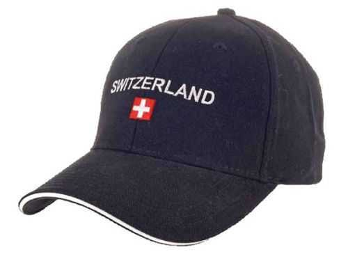 Black Baseball Cap - Swiss Flag