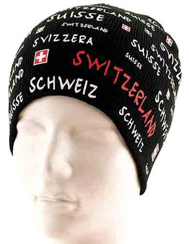 Black Knit Hat - Switzerland in multi languages