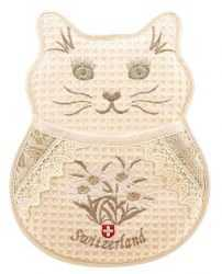 Embroidered  Cat Pot Holder - Beige with Edelweiss Accent