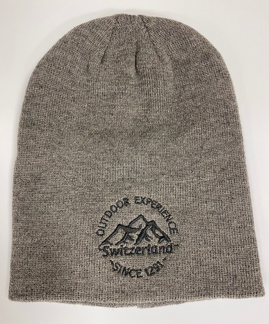 Knit Hat - Gray with Switzerland embroidery