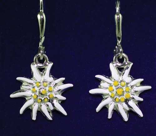 Earrings with Painted Edelweiss