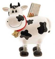 """Springy"" The Swiss Holstein Cow Bank"