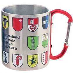 Alu Cup with Swiss Canton Shields and Carabiner Handle
