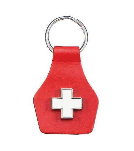 Swiss Key Ring - Red Leather with Swiss Cross