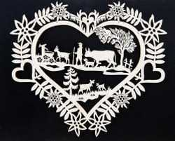 Wood Picture - Laser-Cut Herdsman with Cow and Goats