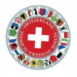 Round Swiss Canton Flag Decal