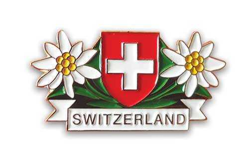 Lapel Pin 2 Edelweiss and Swiss Shield