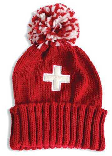 Red Knit Hat with Swiss Cross
