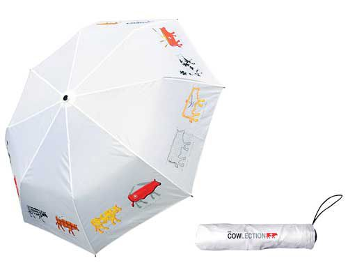 White Umbrella with Swiss Cows Motif