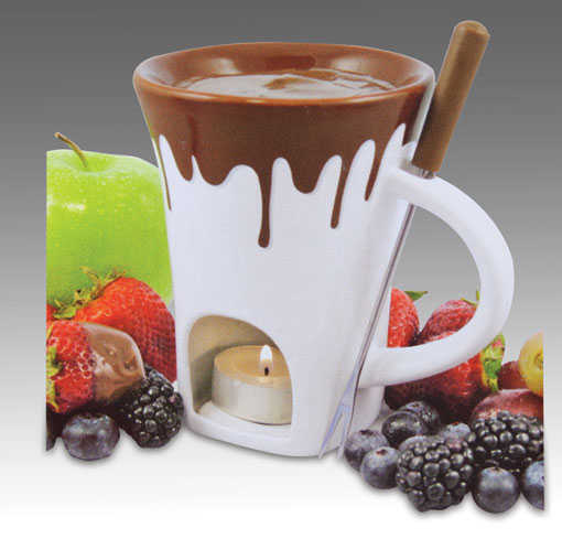 Nostalgia Chocolate Fondue Set -White