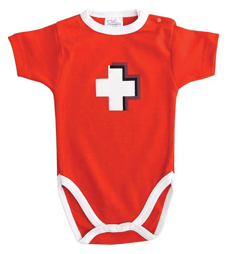 Red All-in-one Baby Onesie - Swiss Cross