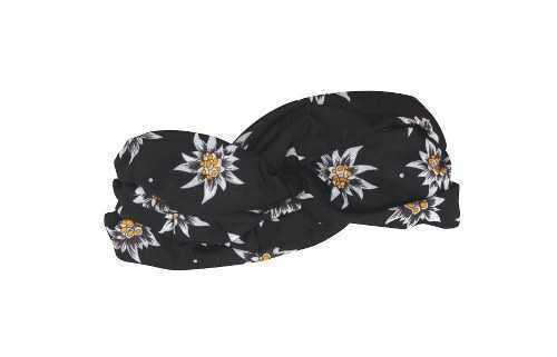 Black Tube Scarf with Edelweiss Floral Pattern
