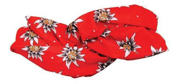Red Tube Scarf with Edelweiss Floral pattern
