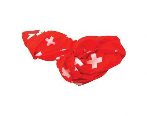 Red Tube Scarf with Swiss Cross Pattern