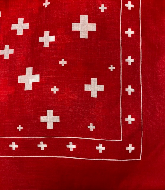 Red Cotton Scarf with mutli Swiss Cross Print