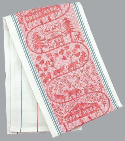 Appenzell Farm Kitchen Towel  -  Red Accent