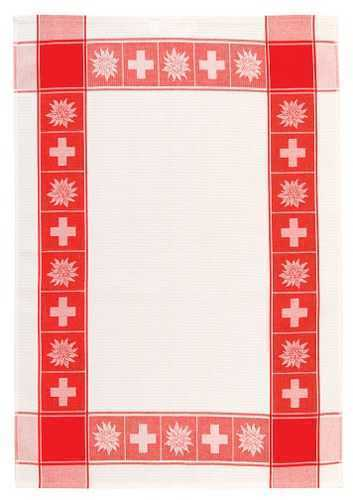 Kitchen Towel - Swiss Cross/Edelweiss - White