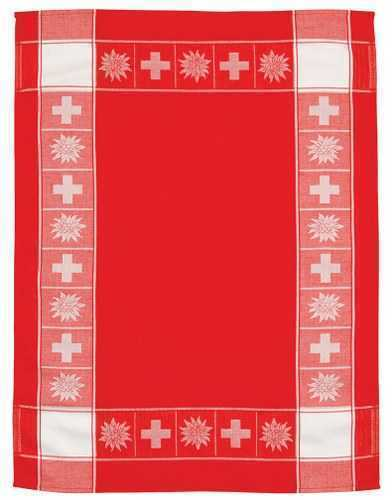 Kitchen Towel - Swiss Cross/Edelweiss - Red