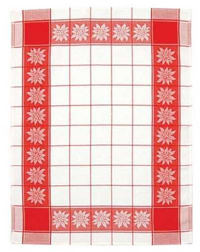 Kitchen Towel - White w/ Red Edelweiss Motif