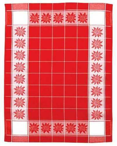 Kitchen Towel - Red w/white Edelweiss Motif