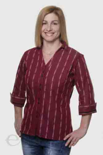 Womens Burgundy Edelweiss V-neck Shirt
