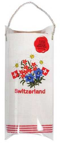 Embroidered Kitchen Towels - Alpine Flowers/Red accent