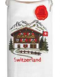 Embroidered Kitchen Towels - Swiss Chalet/Red accent