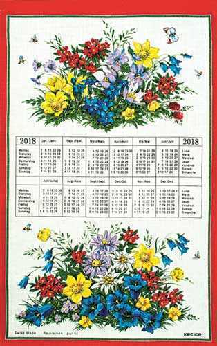 Alpine Flowers screen printed Cotton Calendar 2018