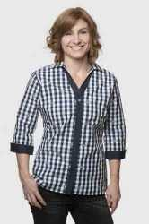 Womens Navy - White Checked V-neck Shirt