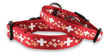 Dog Nylon Collar with Swiss Cross - red