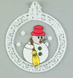 Embroidered Window Picture -Snowman