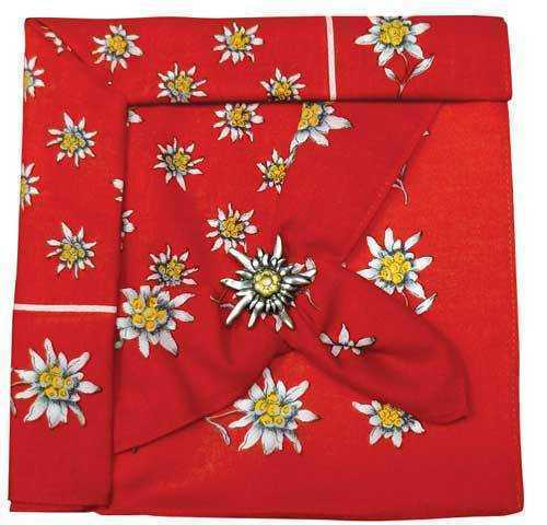 Red Edelweiss Scarf with Clip