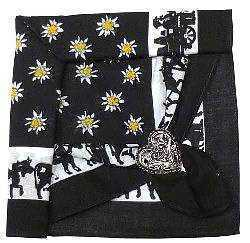 Black Edelweiss and Cow Scarf with Clip