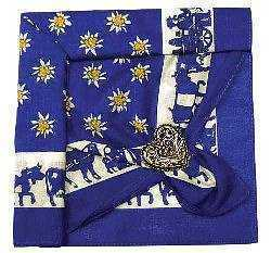 Royal Blue Edelweiss and Cow Scarf with Clip