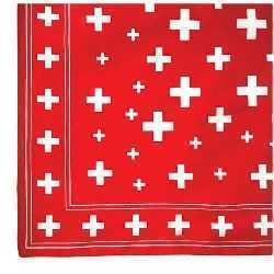 Red Scarf with a Swiss Cross Design