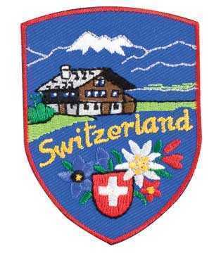 Embroidered Patches-Switzerland w/Blue Background