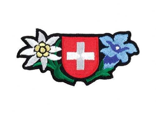Embroidered Patches - Swiss Shield/Alpine Flowers