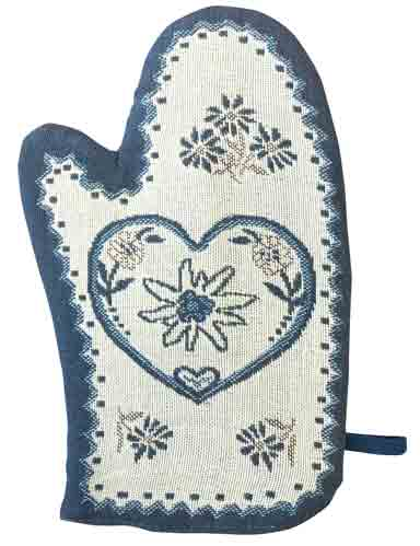 Blue Oven Mitt with Swiss Accents